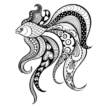 450x450 Zentangle Vector Gold Fish For Tattoo In Boho, Hipster Style