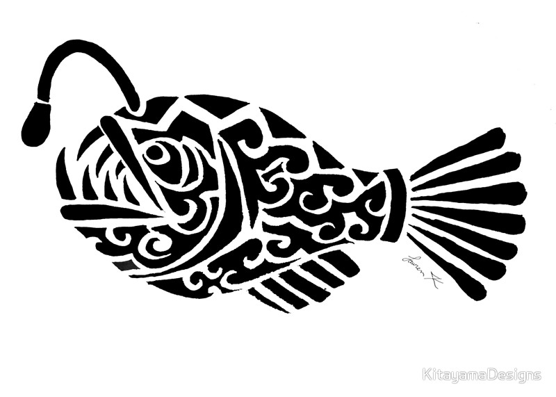 800x571 Angler Fish Tribal Design Posters By Kitayamadesigns Redbubble