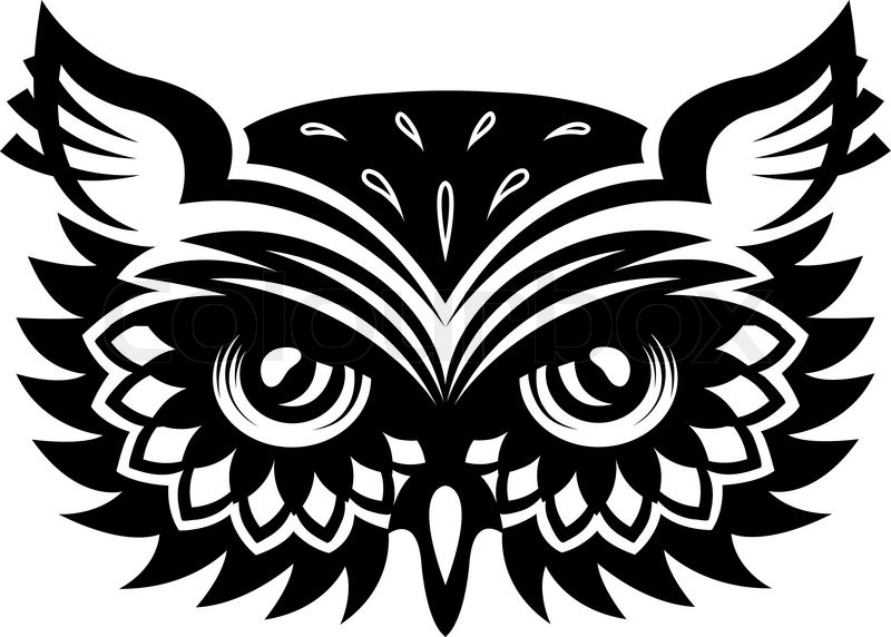 800x572 Black And White Wise Old Horned Owl Head With Big Eyes And Feather
