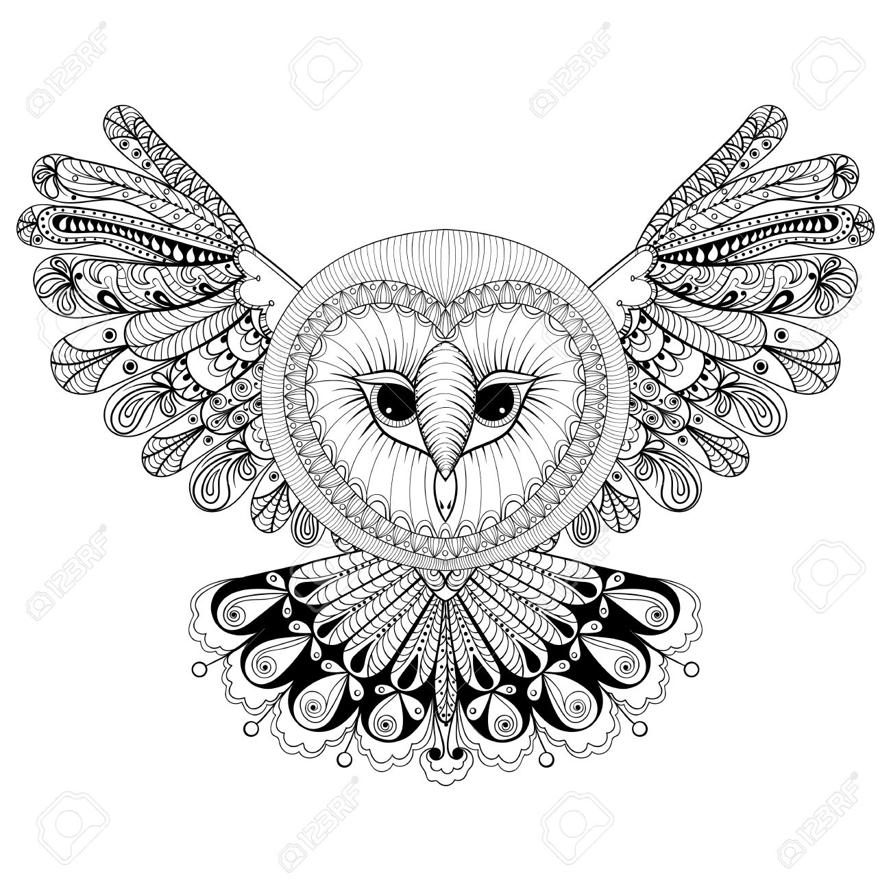 1300x1300 Coloring Page With Owl, Zentangle Hand Drawing Illustration