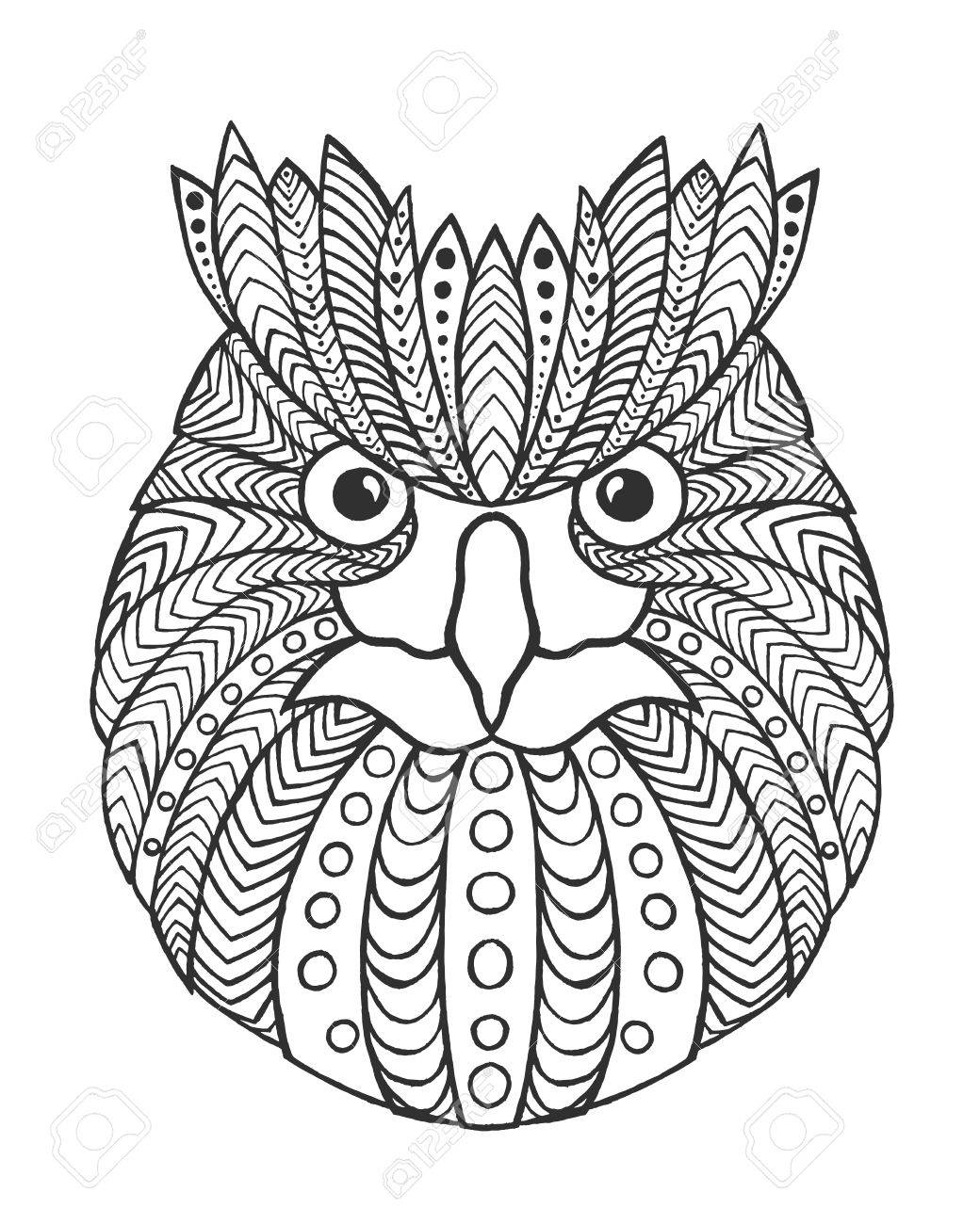 1040x1300 Eagle Owl Head. Adult Antistress Coloring Page. Black White Hand