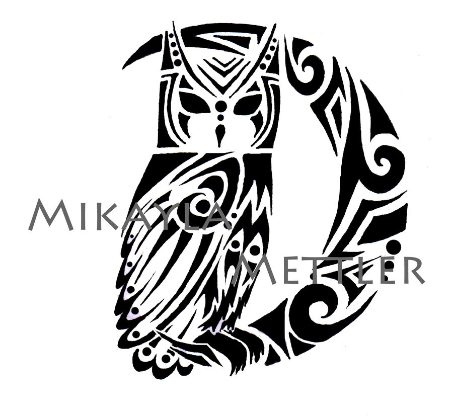 900x833 Great Horned Owl And Crescent Moon By Mikaylamettler