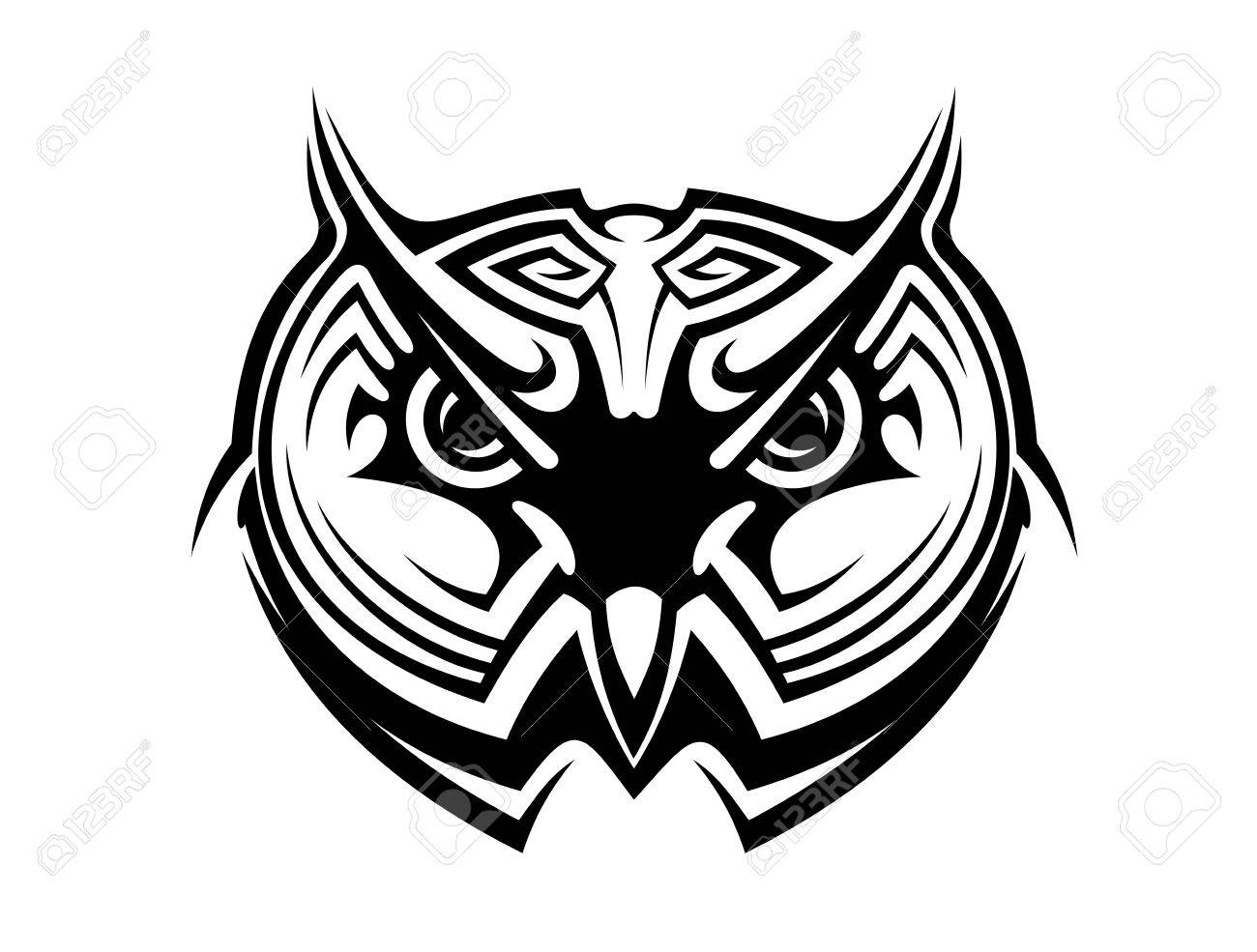 1300x985 Tribal Owl Tattoo For Mascot Design In Black And White Royalty
