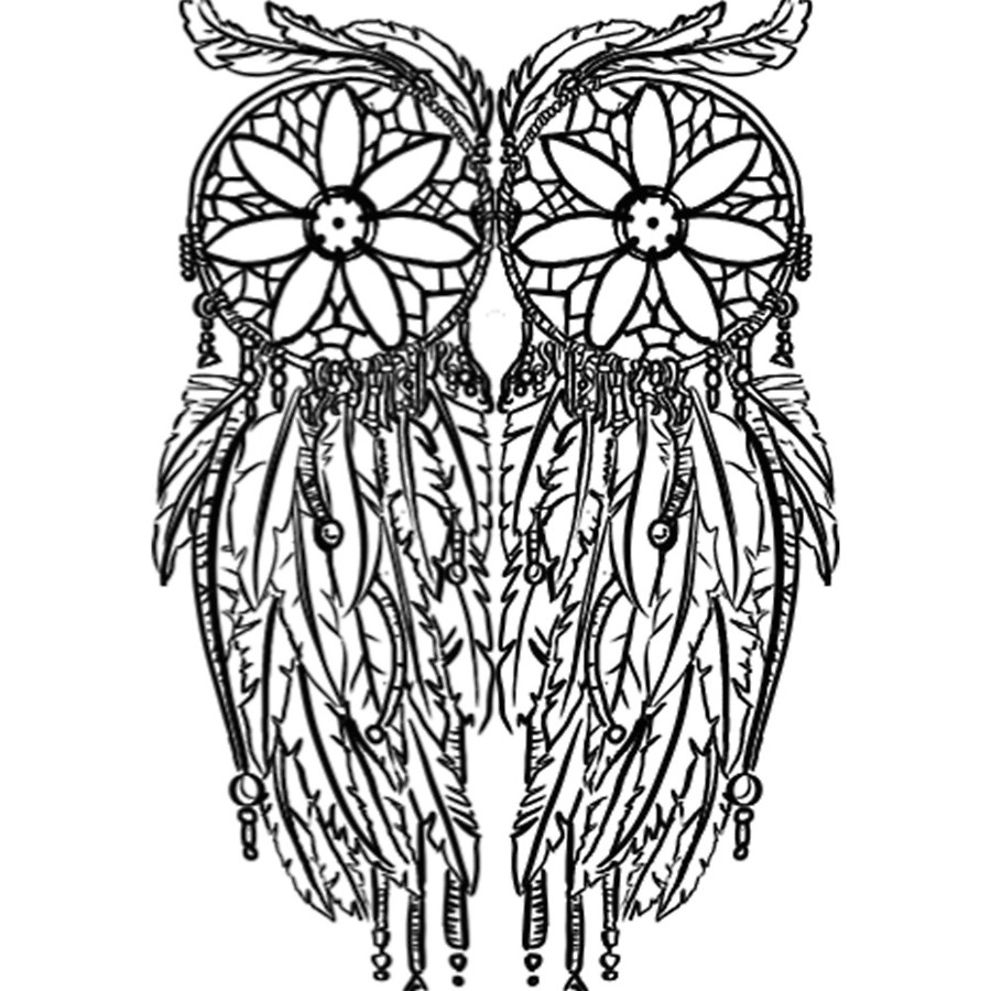 900x900 Wise Ancient Tribal Dream Catcher Owl Design Acrylic Blocks By