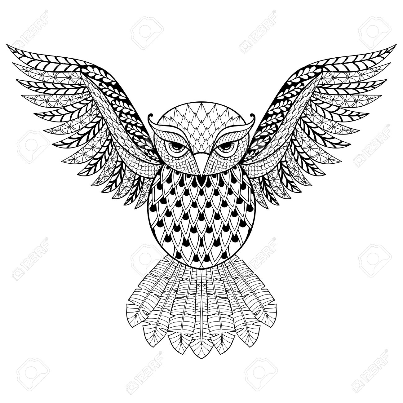 1300x1300 Zentangle Vector Owl For Adult Anti Stress Coloring Pages