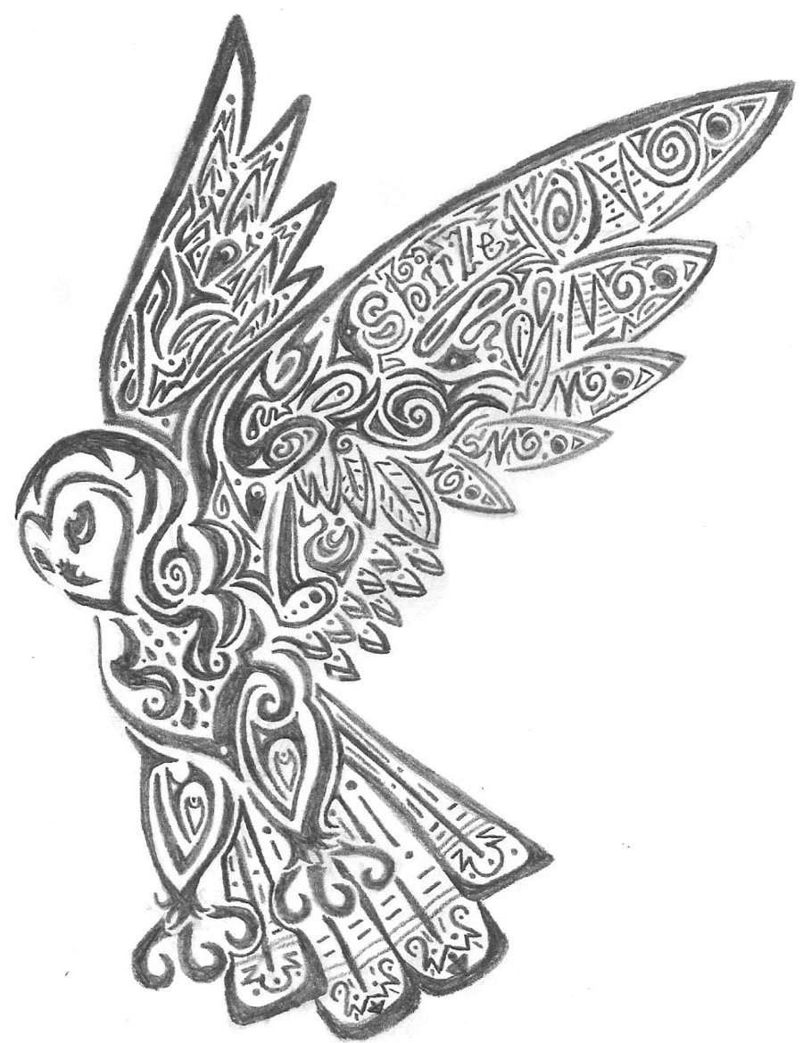 Tribal Owl Drawing at GetDrawings.com | Free for personal use Tribal ...