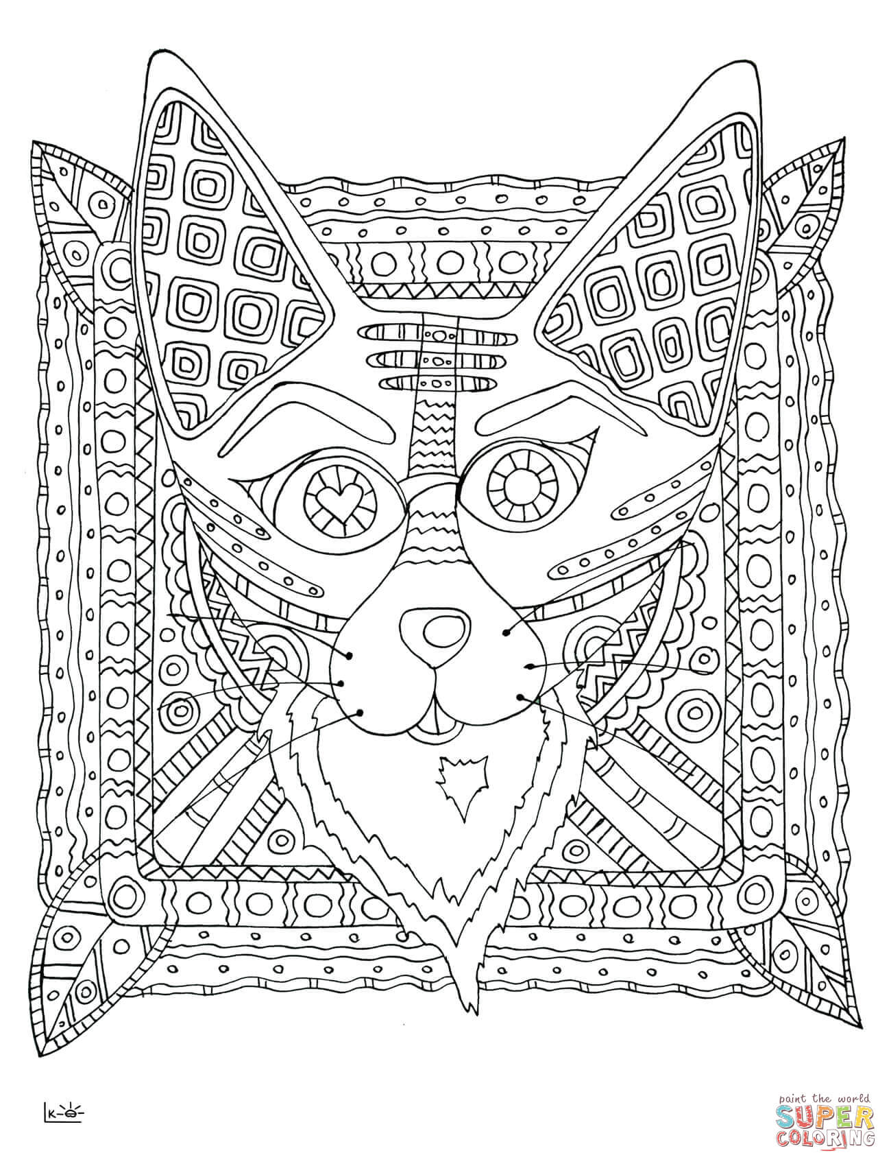 1300x1700 Fox With Tribal Pattern Coloring Page Free Printable Pages