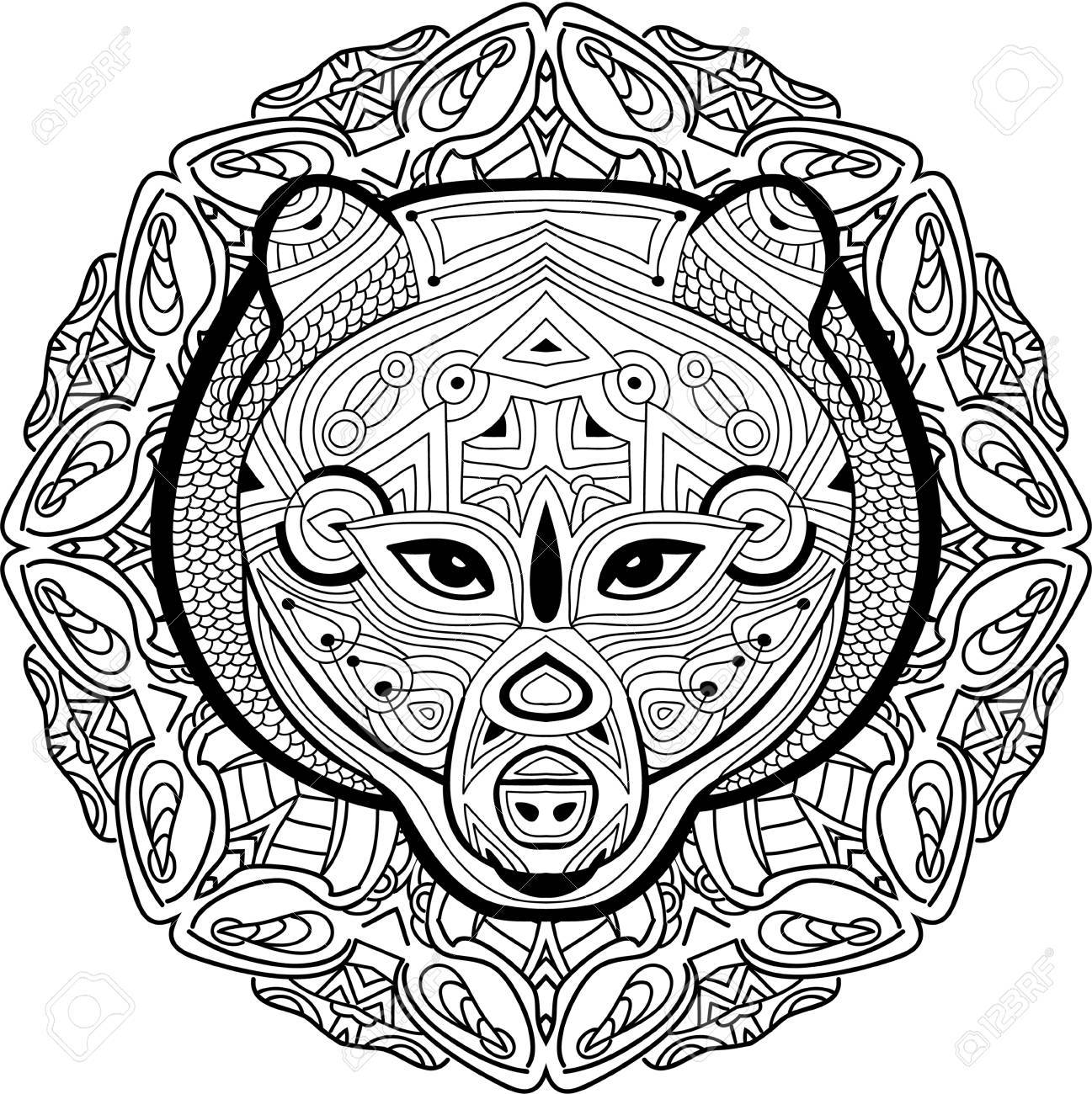1297x1300 Hand Drawn Figure Of A Bear On The Background Circular Tribal