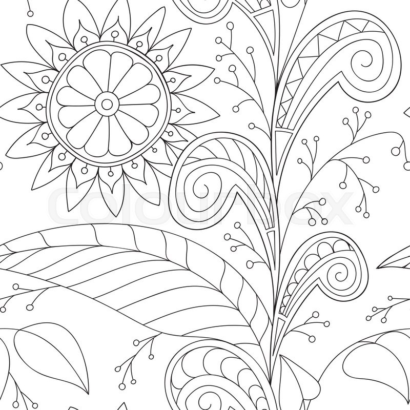 800x800 Hand Drawn Vector Doodles, Seamless Pattern. Tribal Ethnic