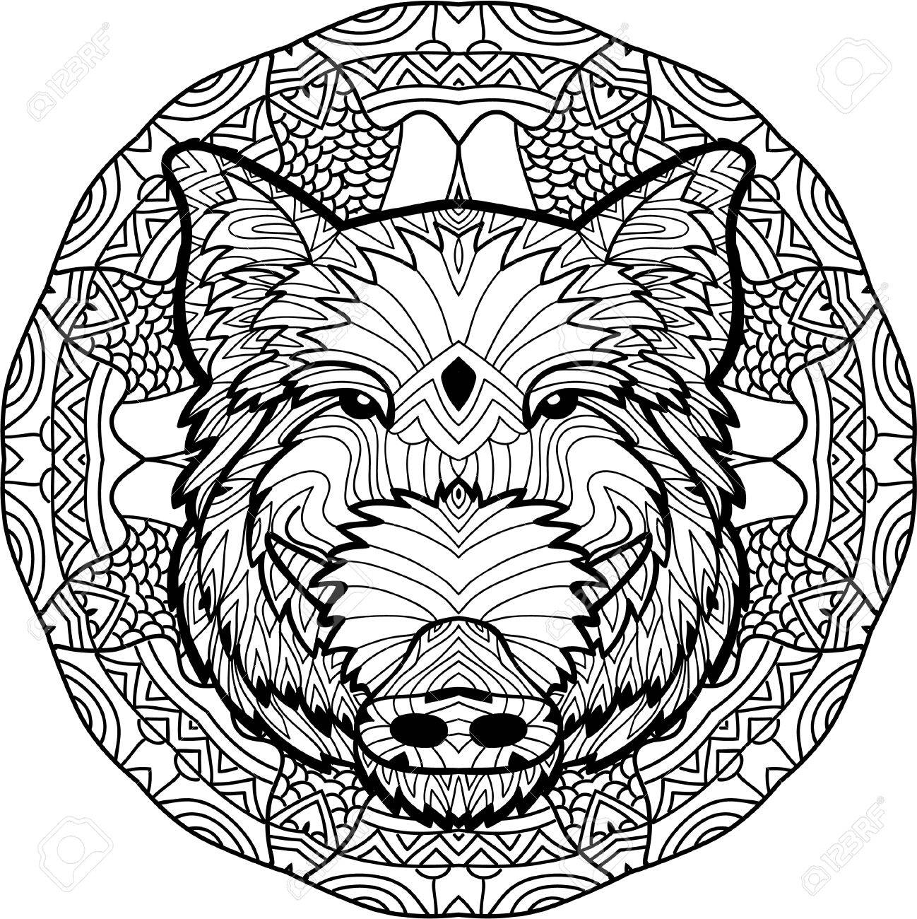 1298x1300 Monochrome Drawing With National Patterns. Painted Boar On