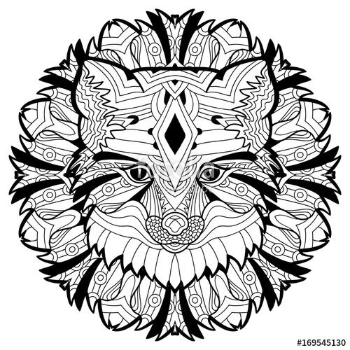 500x500 Animal Concept. Line Design. The Head Of A Fox. Monochrome Ink
