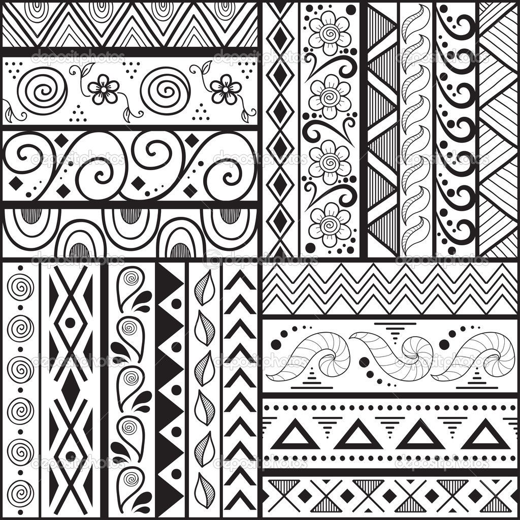 1024x1024 Tribal Striped Hand Drawn Seamless Pattern. Stock Vector
