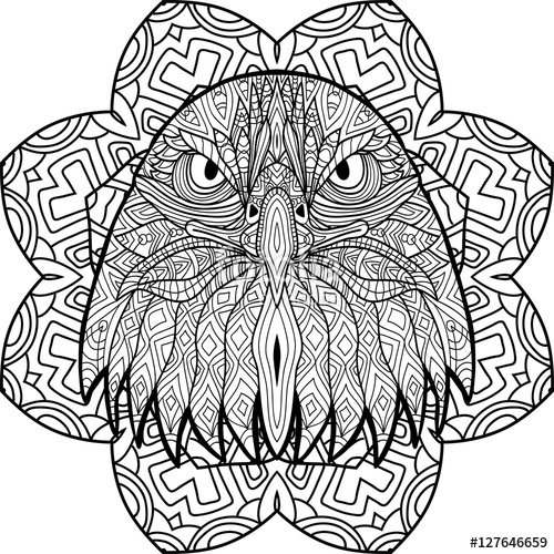 Coloring Book Page For Adults Hand Drawn Figure Of An
