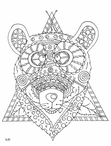 367x480 Bear With Tribal Pattern Coloring Page Free Printable Coloring Pages