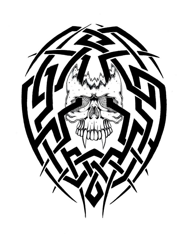 788x1013 Skull Tribal By Stark Sketches
