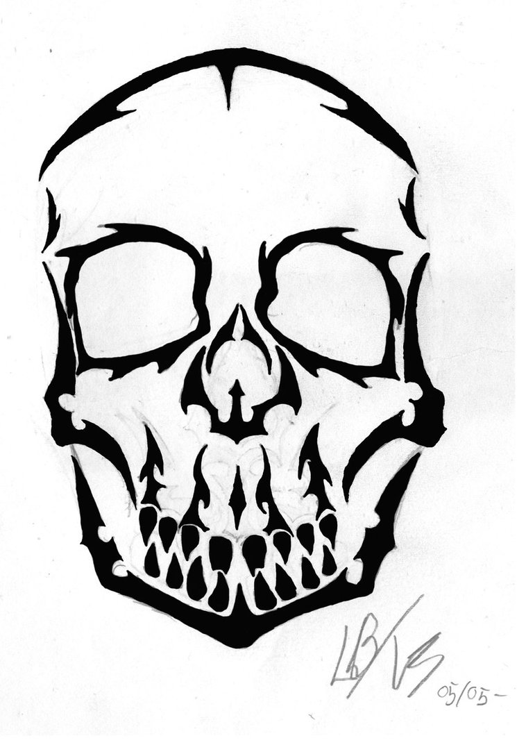 745x1073 Tribal Skull By Voodoo Smurf