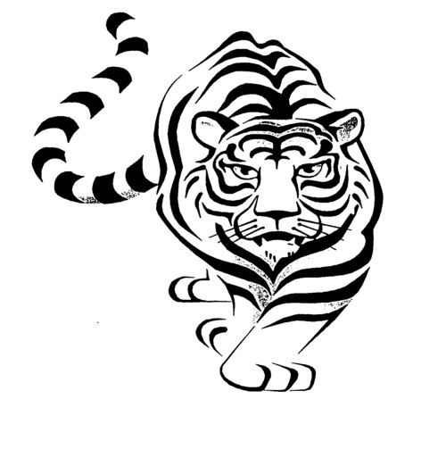 Tribal Tiger Drawing