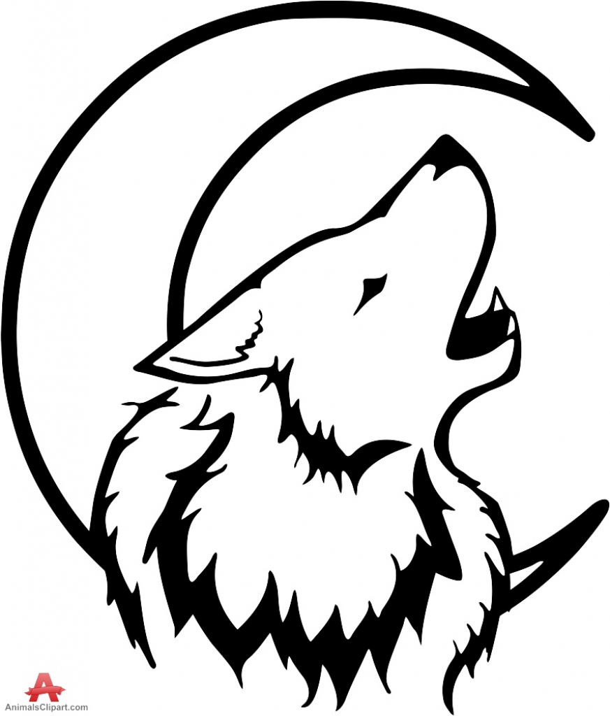 873x1024 Wolf Howling At Moon Drawing Tribal Wolf Howling With Moon Drawing