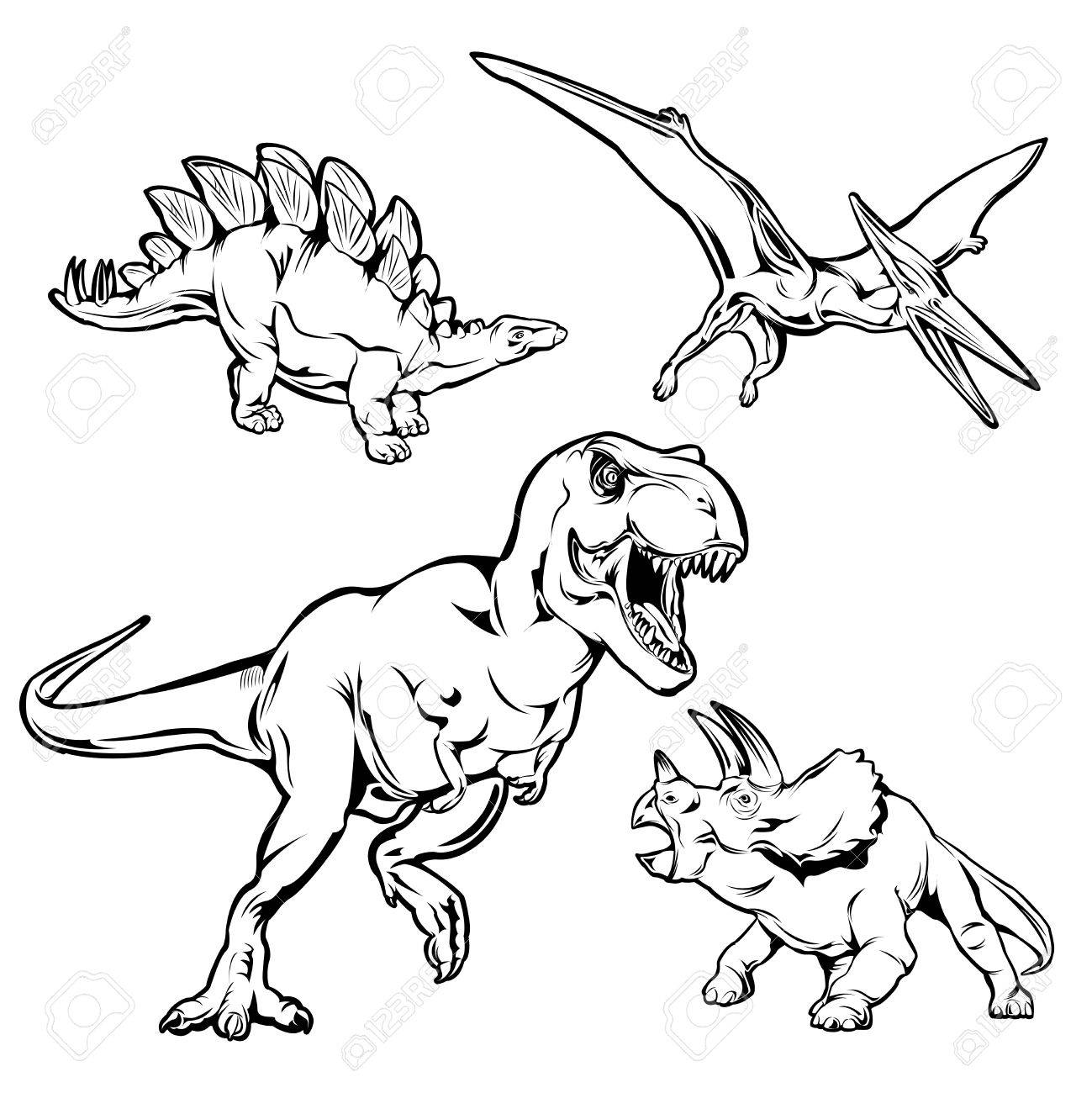 1299x1300 Dinosaurs Monochrome Hand Drawn Icons Set With T Rex Triceratops