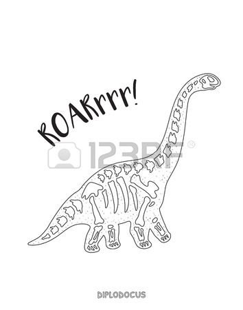 354x450 Diplodocus Skeleton Outline Drawing. Fossil Of A Diplodocus