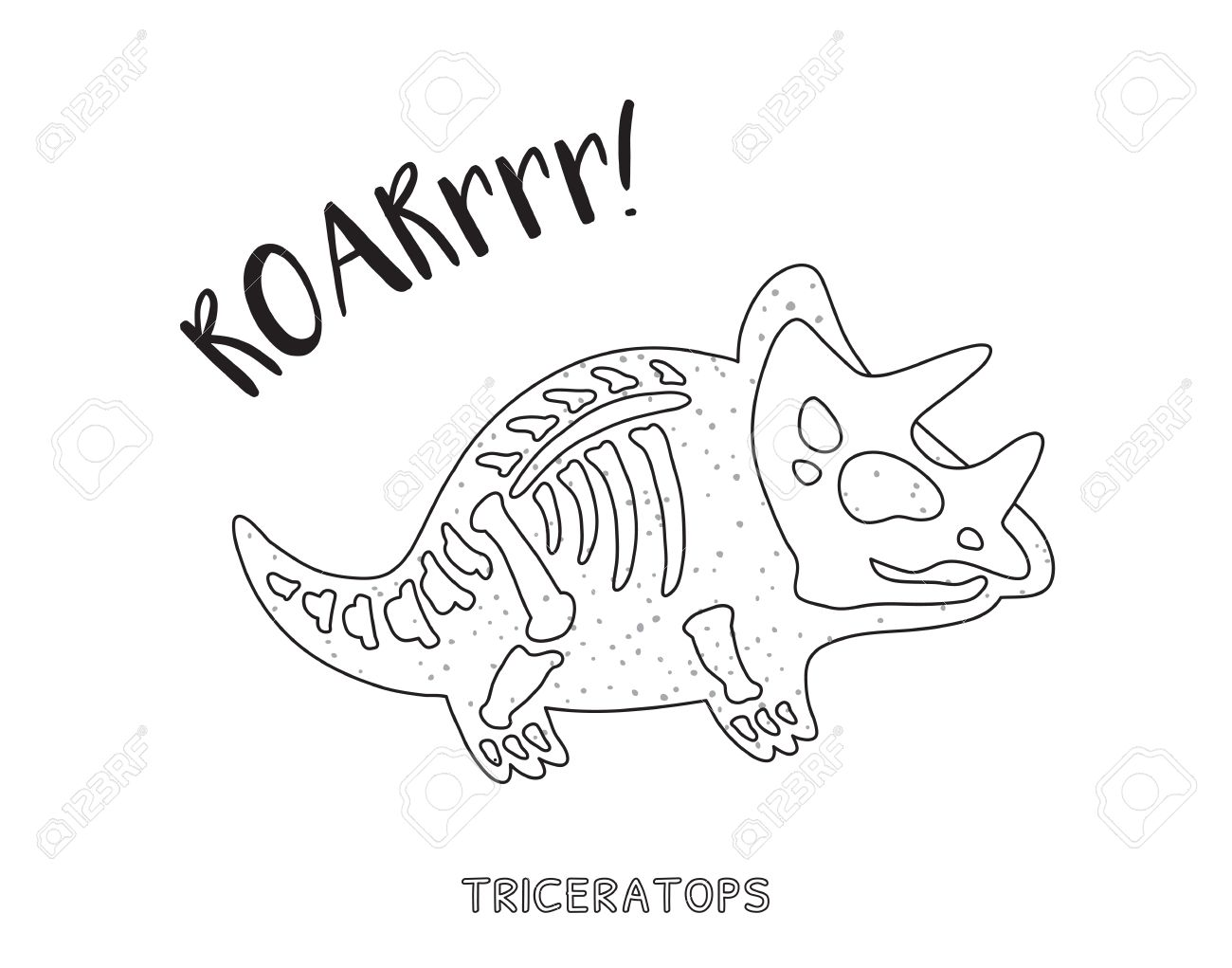 1300x1021 Triceratops Skeleton Outline Drawing. Fossil Of A Triceratops