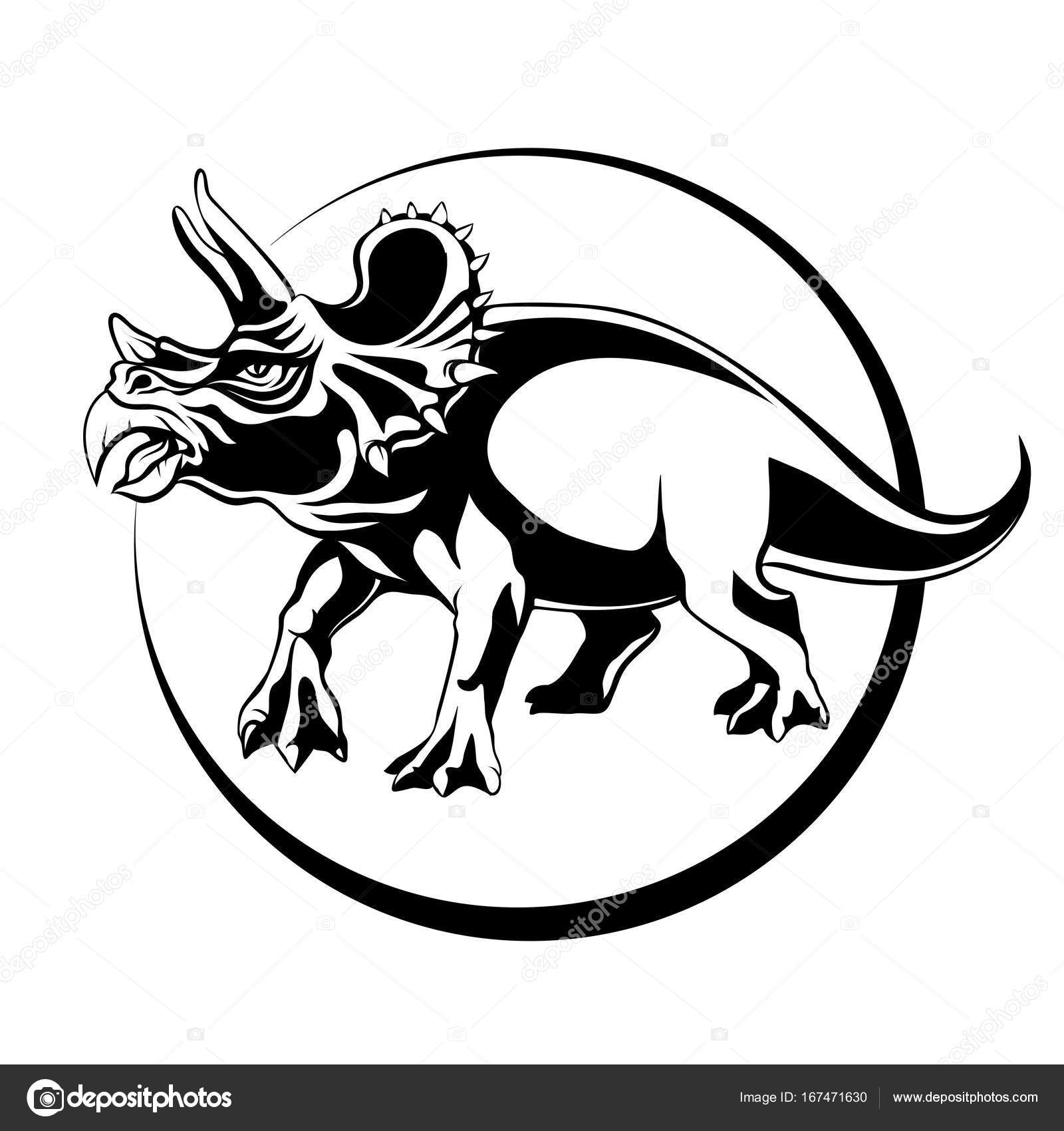 1600x1700 Silhouette Sketch Herbivorous Dinosaur Triceratops With Horns