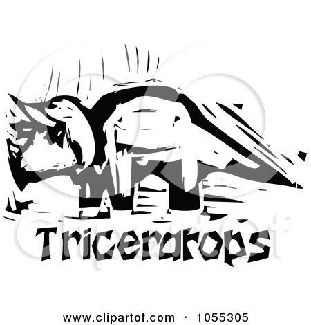 450x470 Clipart Of A Black And White Woodcut Triceratops Skeleton