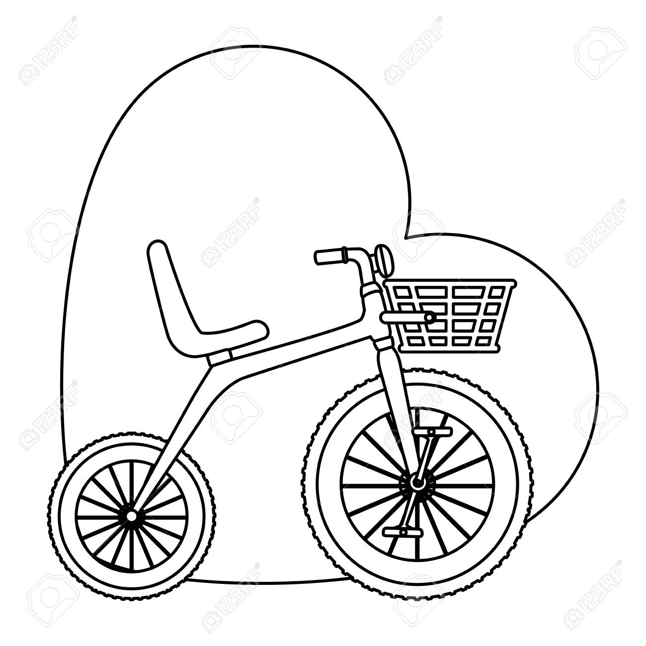 1300x1300 Cute Tricycle With Heart Vector Illustration Design Royalty Free