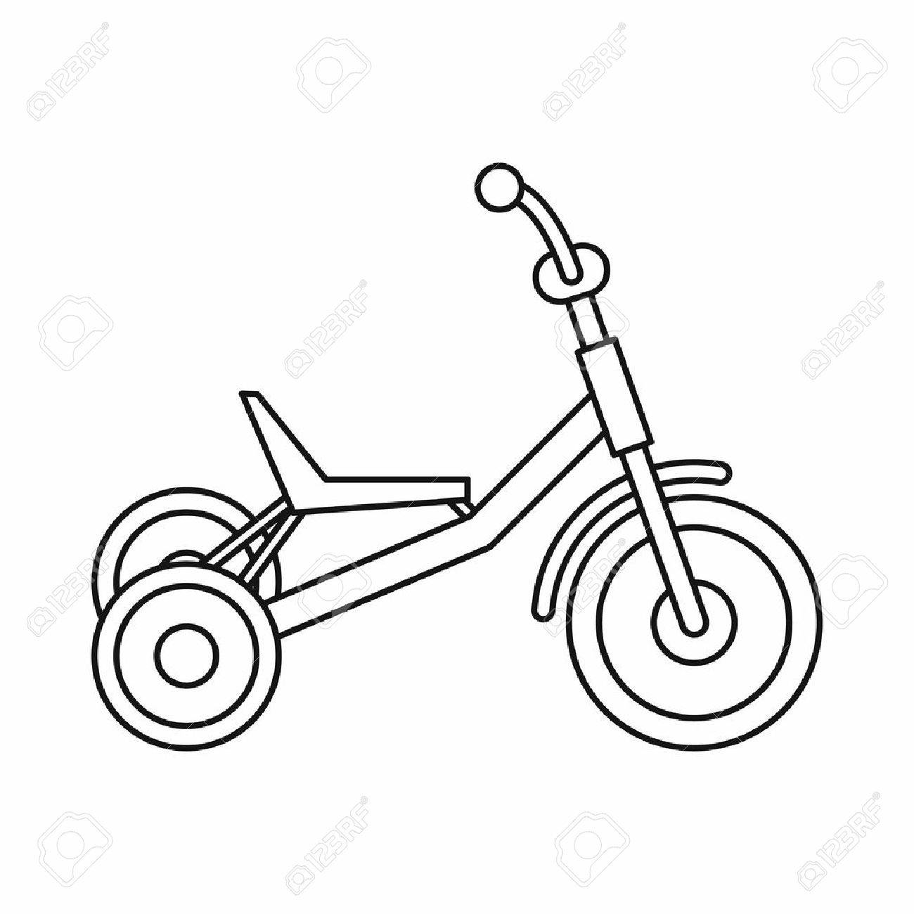 1300x1300 Tricycle Icon In Outline Style Isolated On White Background