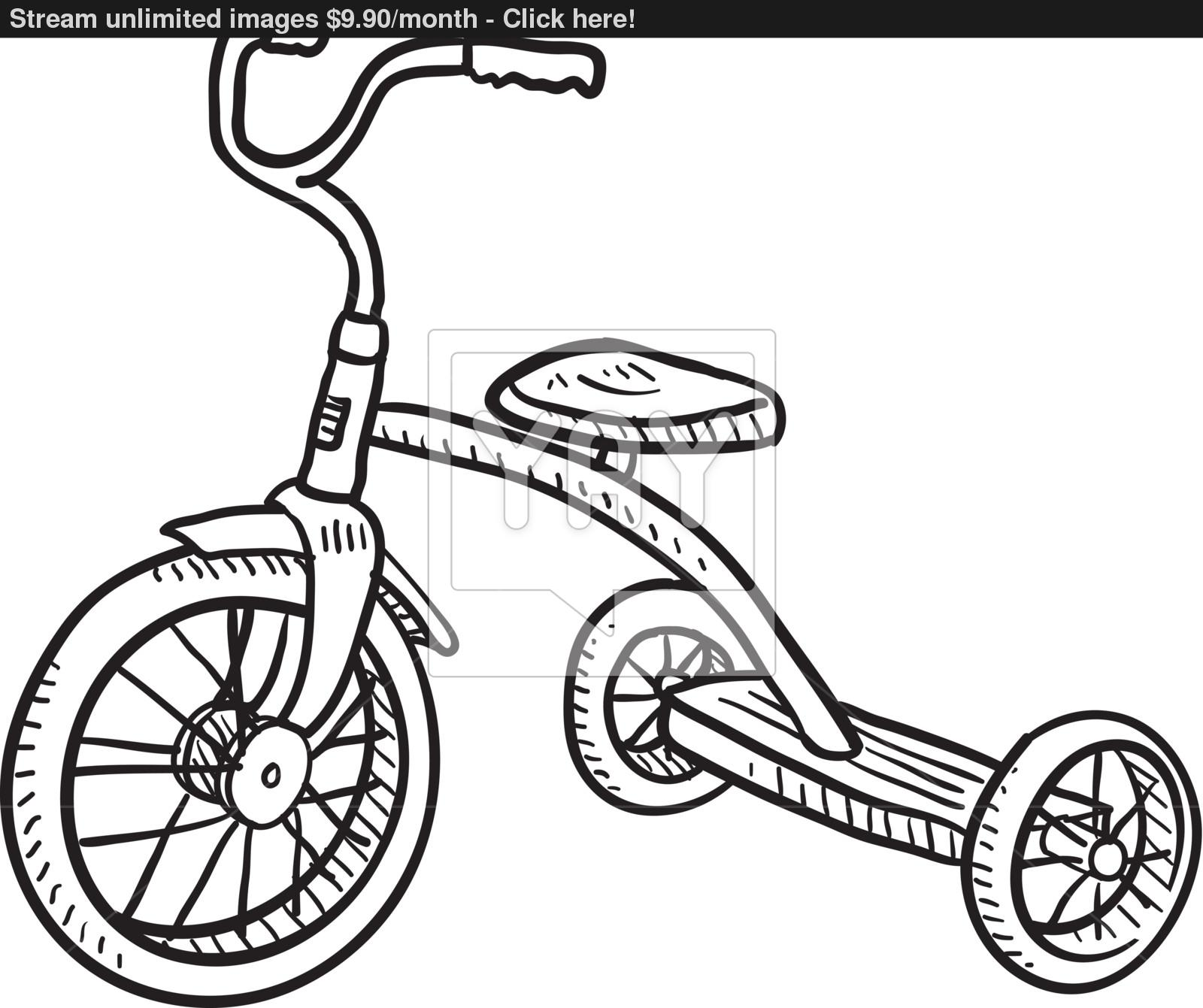 1600x1341 Tricycle Sketch Vector