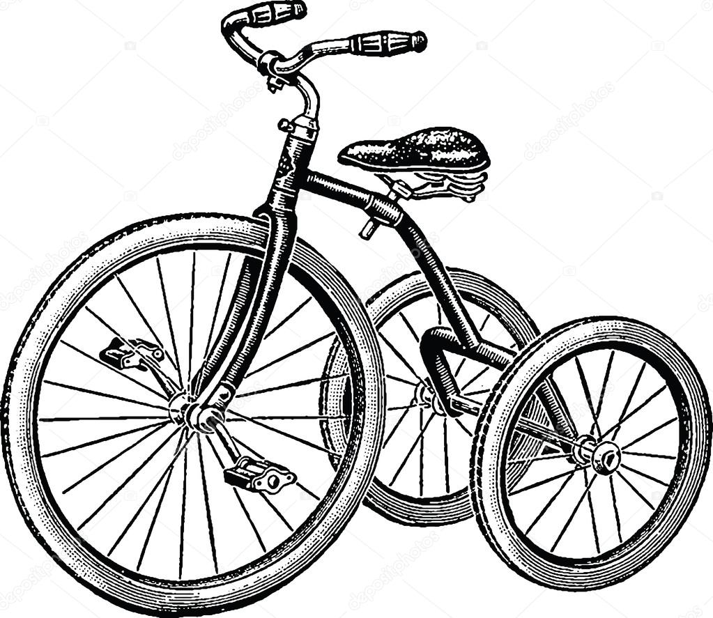 1023x887 Vintage Drawing Tricycle Stock Photo