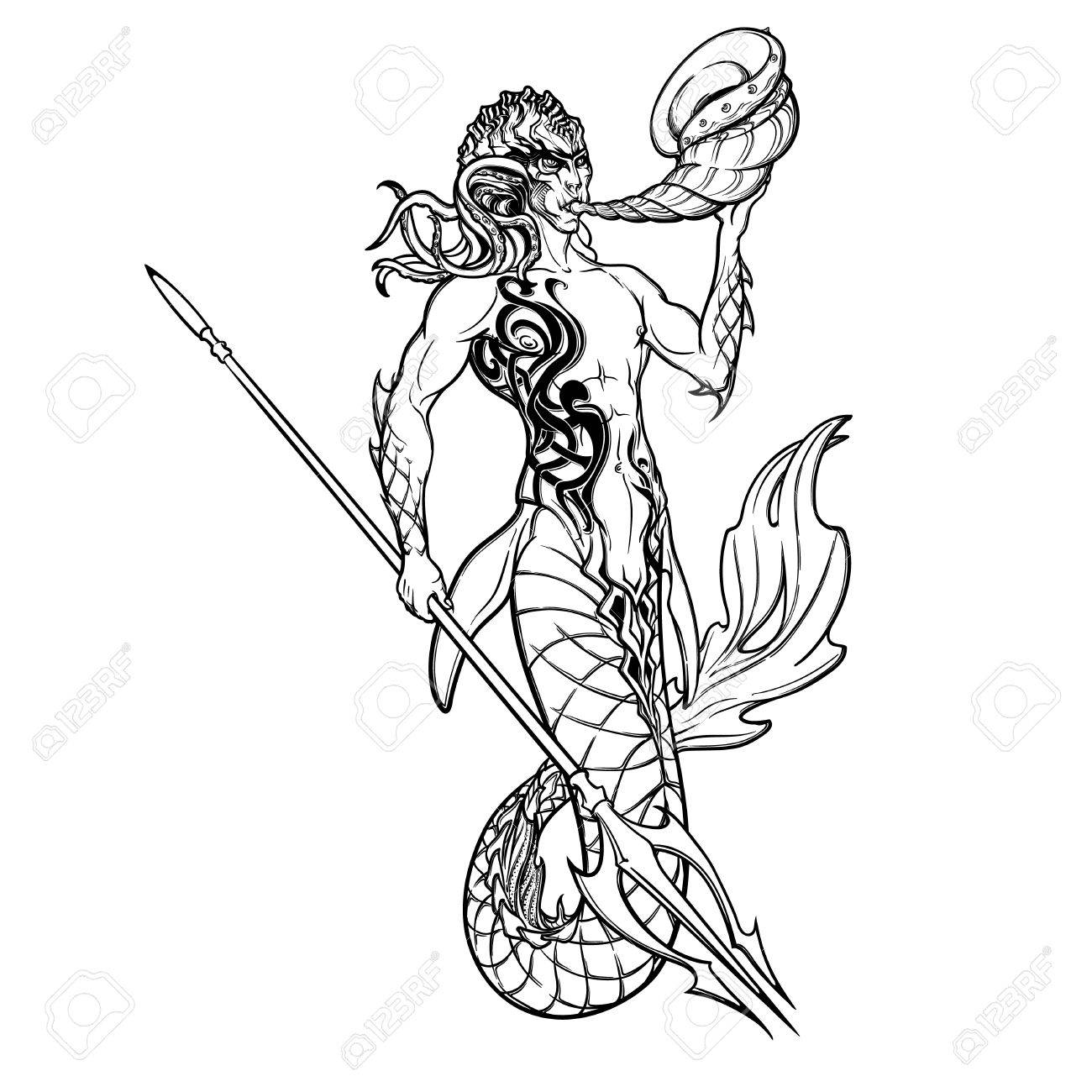1300x1300 Merman Or Triton Mythological Ocean Creature Armed With Trident