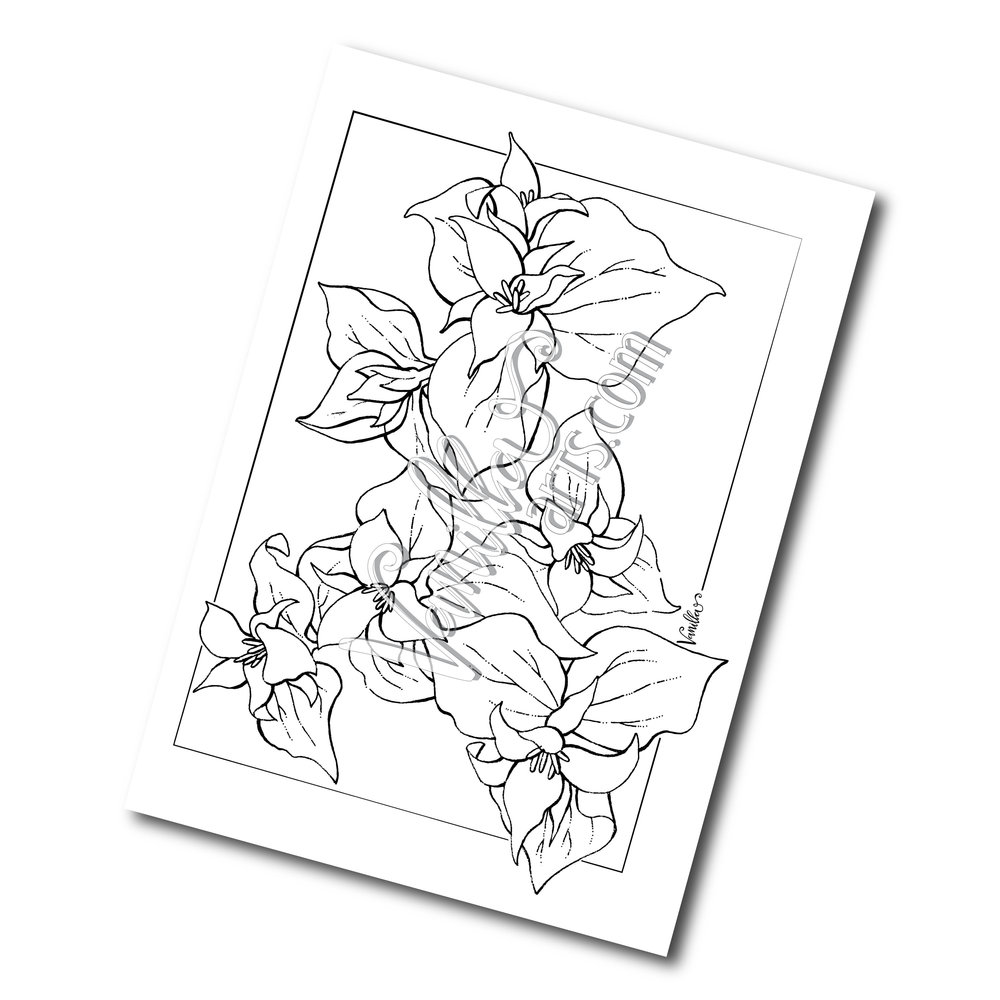1000x1000 Trillium Full Page Digi Stamp Vanilla Arts Co.