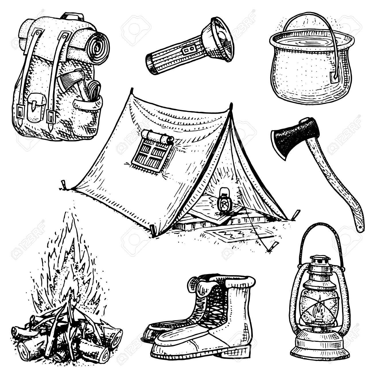1300x1300 Camping Trip, Outdoor Adventure, Hiking. Set Of Tourism Equipment