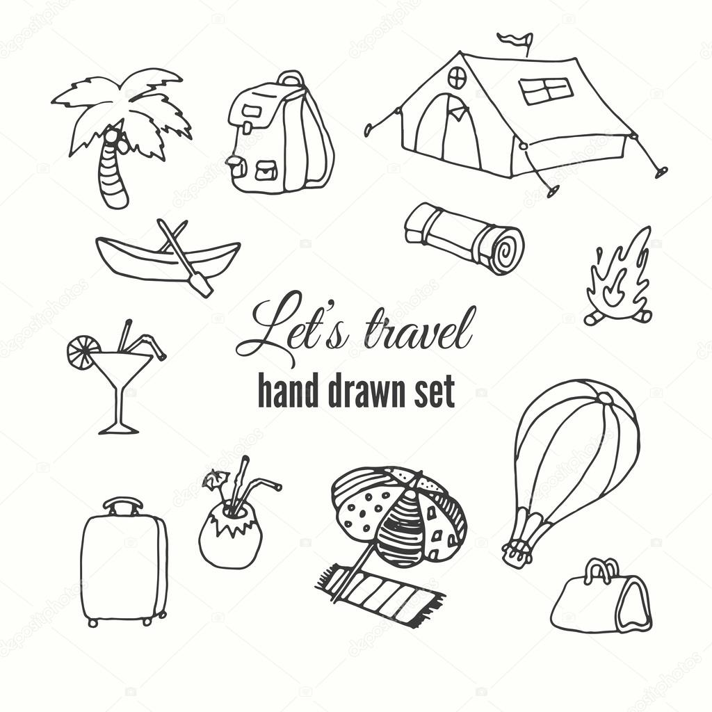 1024x1024 Travel Elements Set. Vector Design Of Traveler Elements. Trip Hand