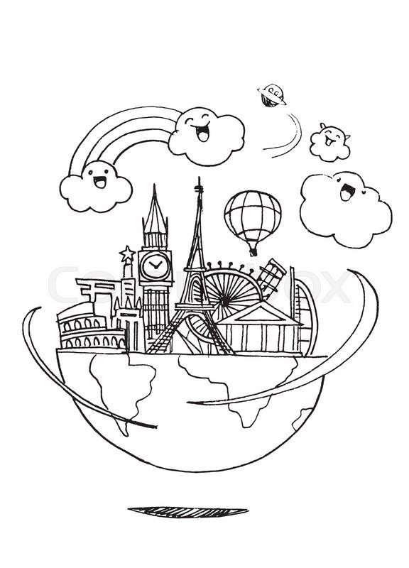 576x800 Travel To World. Road Trip. Tourism. Landmarks On The Globe