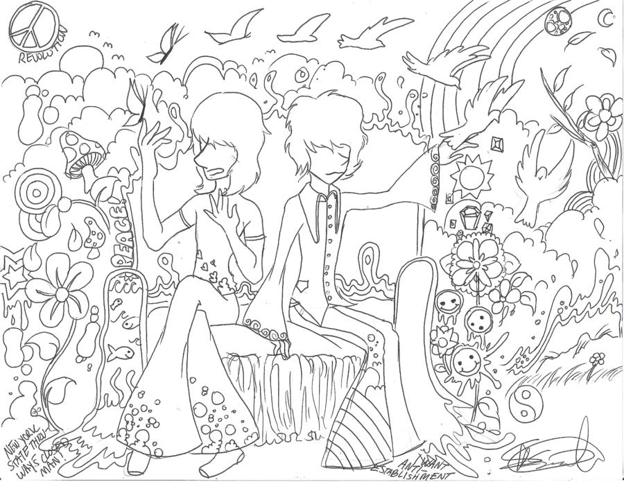 900x695 Trippy Coloring Pages Printable Rog N Syd's Acid Trip By