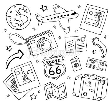 380x353 A Collection Of Travel Themed Doodles. Travel Doodles, Vector