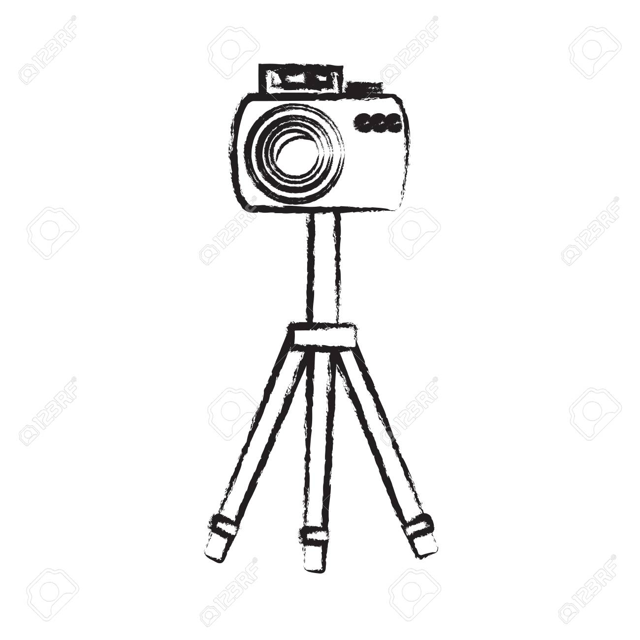 1300x1300 Sketch Of Photographic Camera On The Tripod Icon Over White