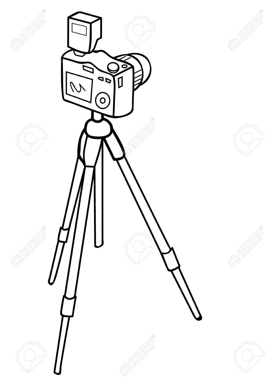 910x1300 Vector Illustration Of A Camera And A Tripod Royalty Free Cliparts