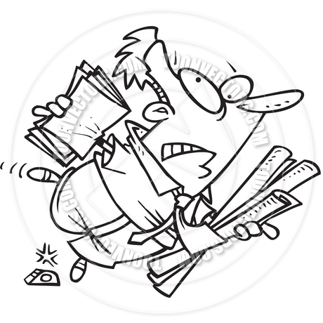 460x460 Cartoon Man Tripping And Falling (Black And White Line Art) By Ron
