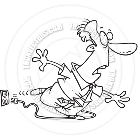 460x460 Cartoon Man Tripping On Power Cord (Black And White Line Art) By