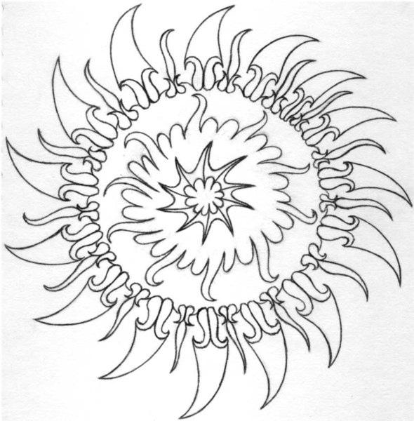 590x600 Trippy Sun Drawing By Joshua Plemons Aka Dj Digital Josh