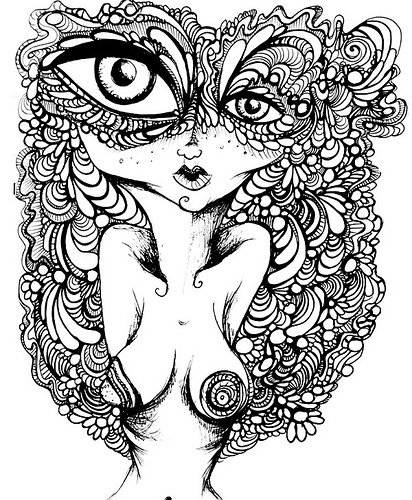 412x500 Psychedelic Drawing To Coloring Pages Psychedelic Tattoos Mushroom