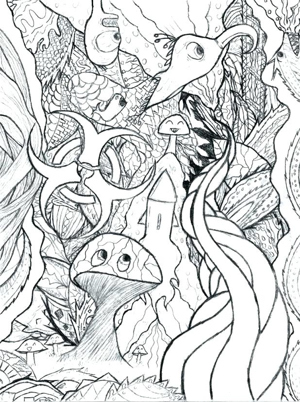 618x829 Trippy Mushroom Coloring Pages Hand Drawn Doodle Outline Magic