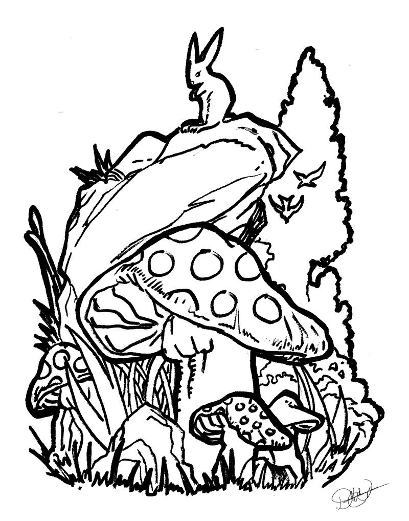 800x1018 Mushroom Scene Tattoo By Free Energy03