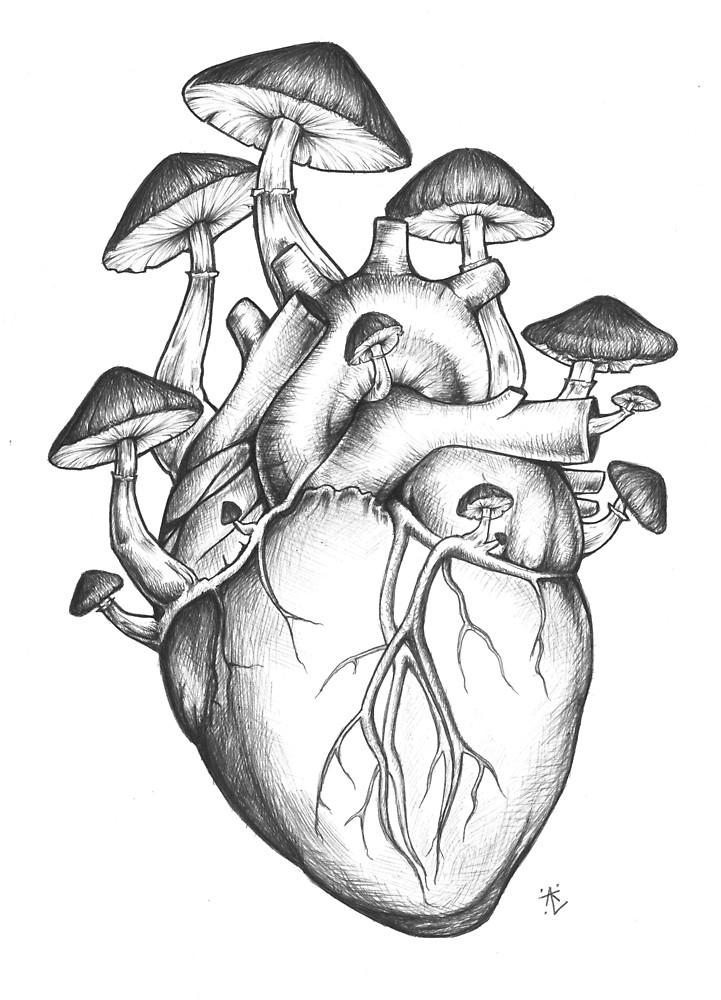 721x1000 Mushroom Heart By Annatenae Redbubble