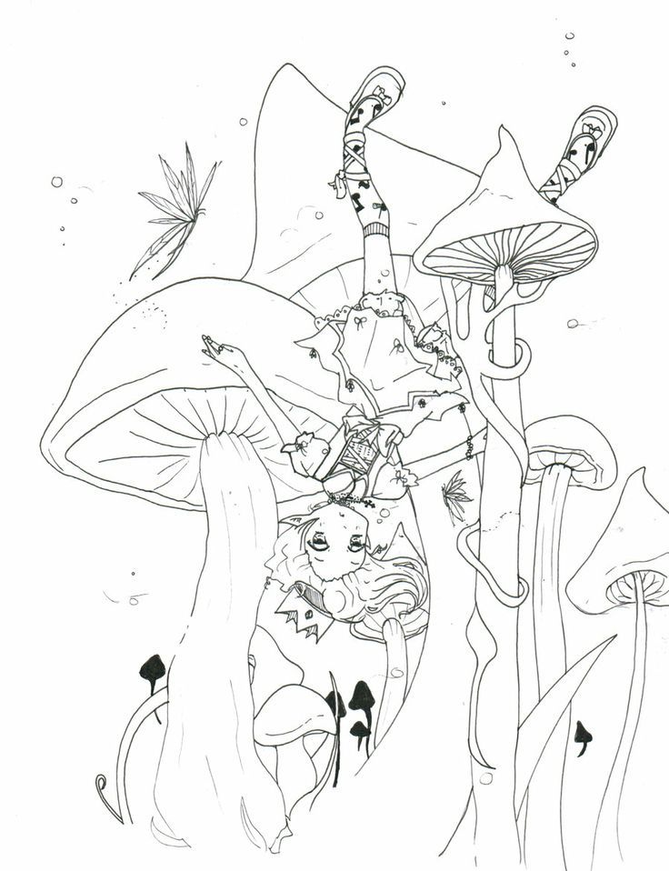 736x958 Trippy Mushroom Coloring Pages
