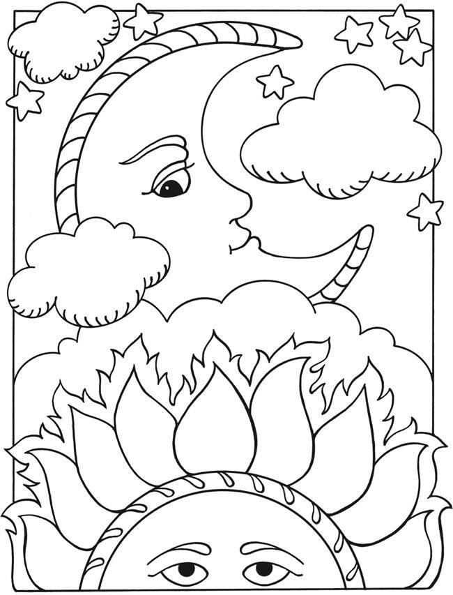 650x853 Drawing Sun Moon Coloring Pages Adult Coloring Pages Sun