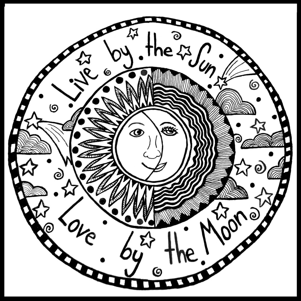 1024x1022 Trippy Sun And Moon Coloring Pages Color Book Moon